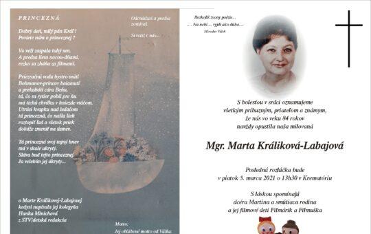 Opustila nás Marta Králiková-Labajová